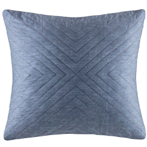 Delphine Blue Cotton Sateen Quilted European Pillow Case / Large Cushion
