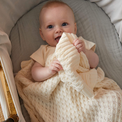 Cream Basket Weave Cotton Knit Baby Blanket