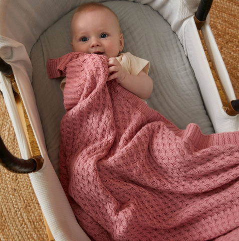 Blush Basket Weave Cotton Knit Baby Blanket