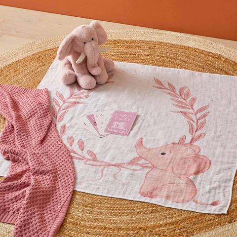 Pink Elephant Milestone Muslin Wrap & Baby Milestone Photo Cards Set