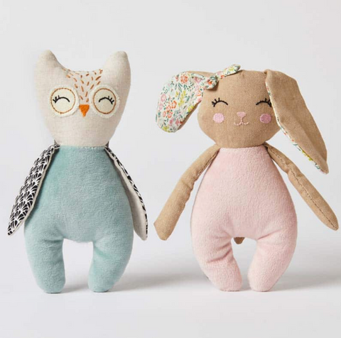 Bunny & Owl Soft Plush Baby Rattle Toy