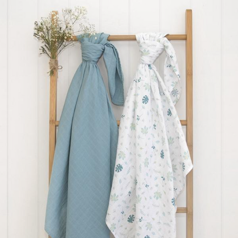 2 Pack Organic Muslin Swaddle Wraps in Banana Leaf & Teal