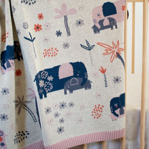 Ellie Family Cotton Knit Elephants Baby Blanket Indus Design