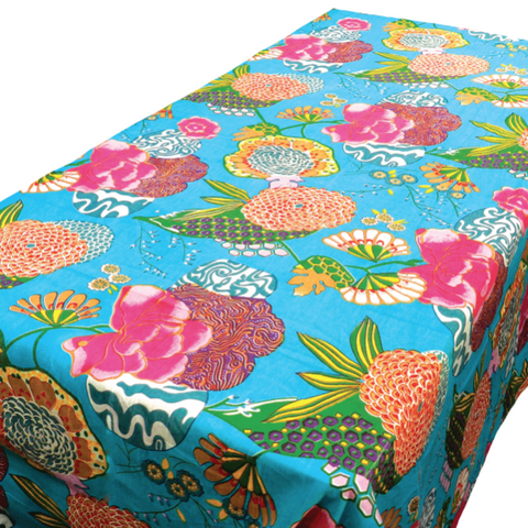 Samsara Aqua Cotton Table Cloth