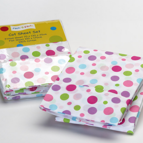 White Polka Dot Cot Sheet Set