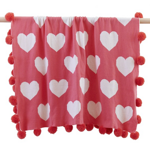 Heart Baby Pom Pom Blanket in Watermelon
