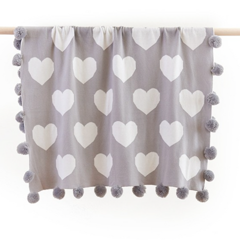 Heart Baby Pom Pom Blanket in Grey
