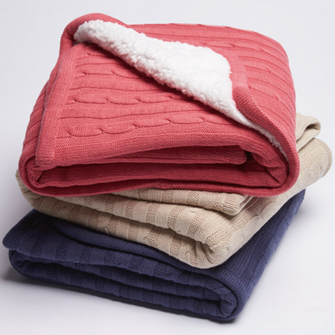 Cable Knit Sherpa Baby Blanket Sale