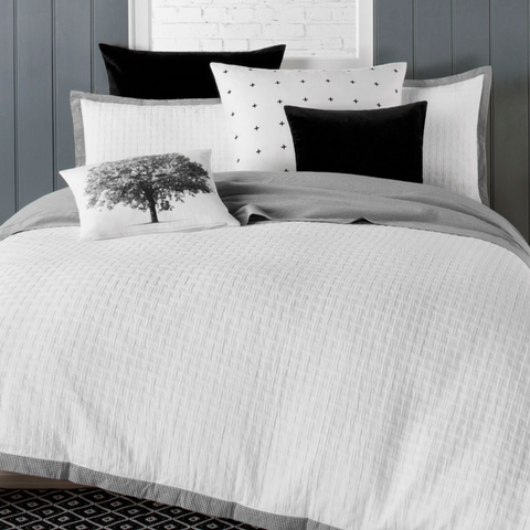 Florence White Basket Weave Quilt Cover Set