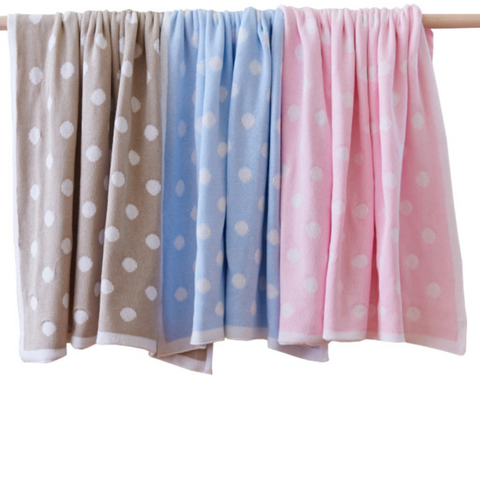 Cotton Polka Dot Baby Blanket Natural Blue or Pink