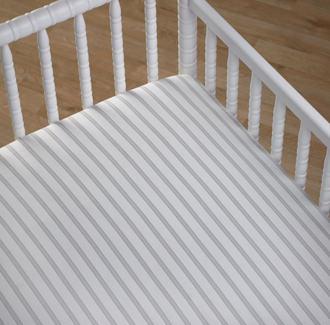 Boys Girls Fitted Striped Cot Sheet in Grey