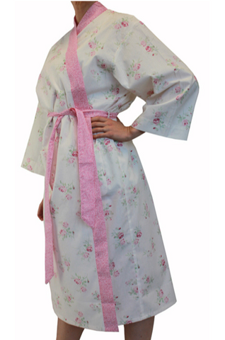 Mia Pink Floral Cotton Bathrobe