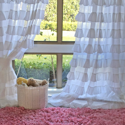 Shabby Chic Ruffle Tab Top Curtains in White or Dusty Pink