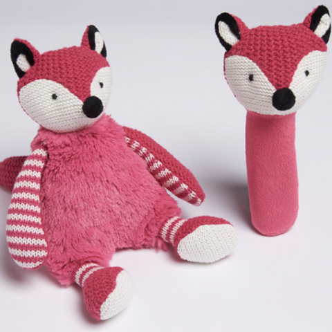 Plush Pink Fox Baby Toy & Rattle Gift Set