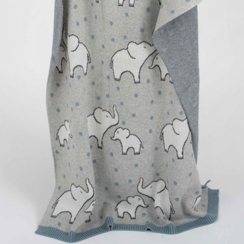 Jimmy Blue Elephant Polka Dot Cotton Knit Baby Blanket