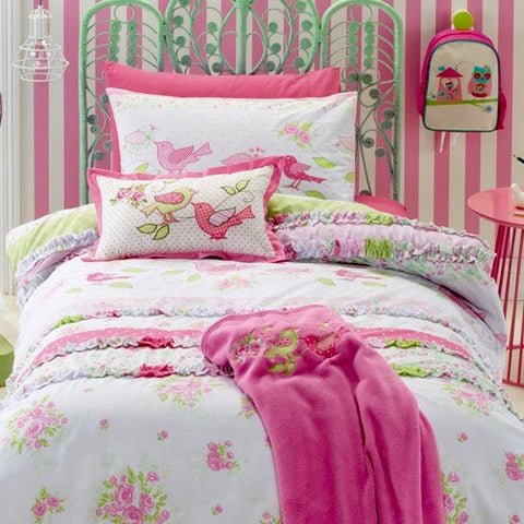 Aviary Shabby Chic Floral Quilt Cover Set with Ruffle Trims