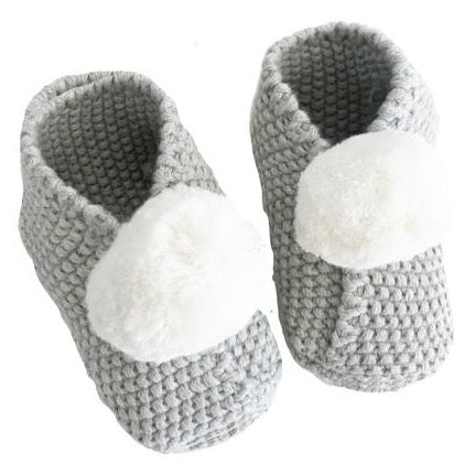 Grey & Ivory Cotton Pom Pom Baby Booties Slippers