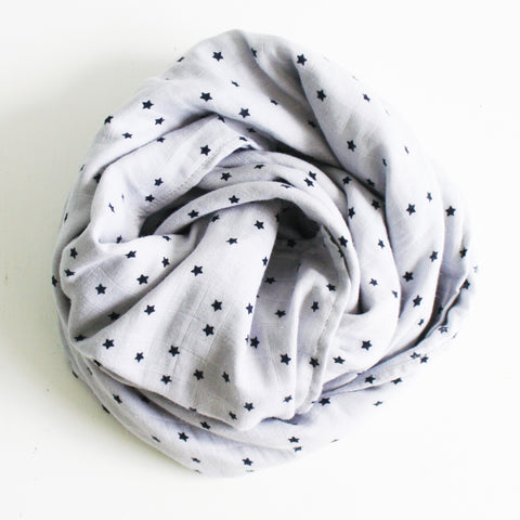 Alimrose Muslin Baby Swaddle Wrap Starry Night Grey
