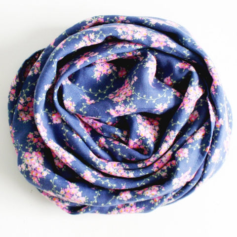 Alimrose Muslin Baby Swaddle Wrap Navy Floral Wildflower