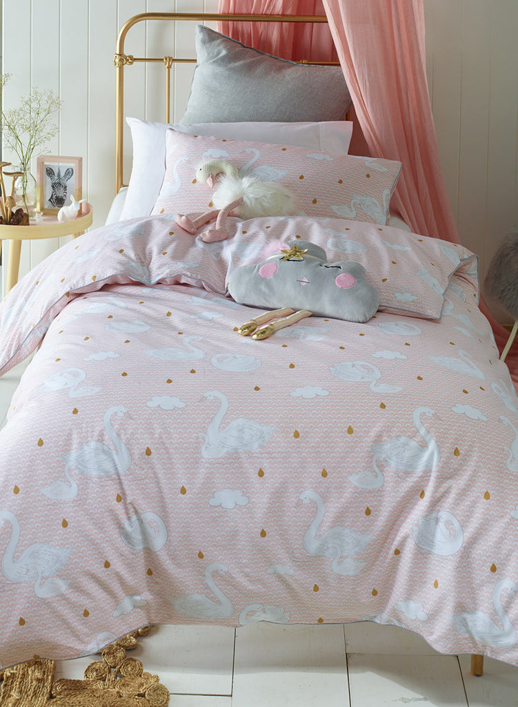 Swan Princess Kids Pink Quilt Cover Set Lovely Linen
