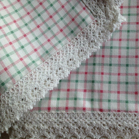 Cottage Check Lace Trim Table Cloth Sale