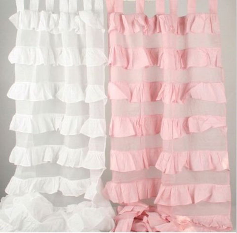 Shabby Chic Ruffle Tab Top Curtains