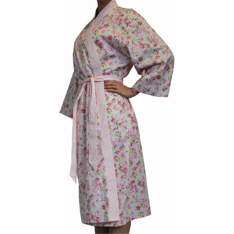A Pretty Pink Floral Cotton Bathrobe Grace