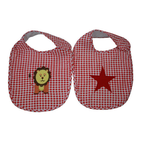 Lachlan Red Newborn Baby Bibs Set of Two