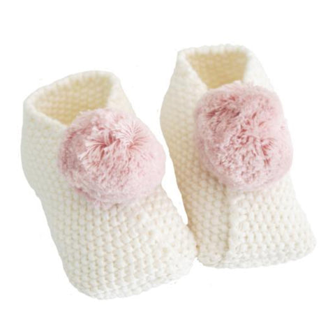Ivory & Pink Cotton Pom Pom Baby Booties Slippers
