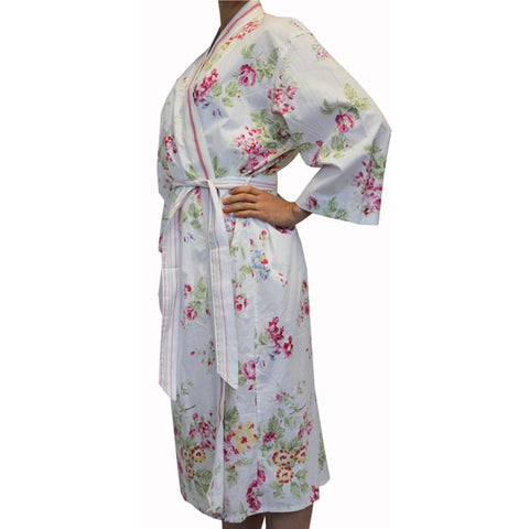 Gigi Cotton White Floral Womens Bathrobe