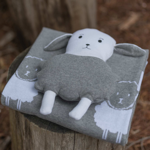 Lamb 2 Piece Baby Blanket & Sheep Cushion Gift Set