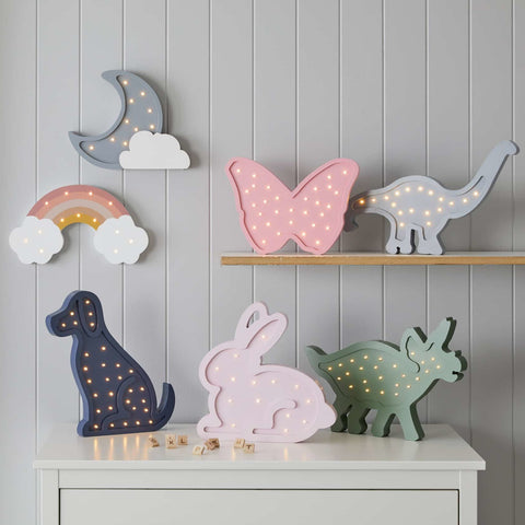 Pink Bunny Rabbit Wooden LED Children's Nursery Light