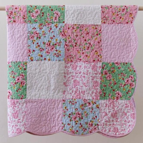 Pink Multi Alice Quilted Patchwork Cotton Throw Rug