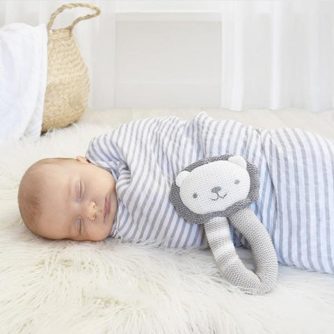2 Piece Grey Stripe Muslin Swaddle Wrap & Lion Rattle
