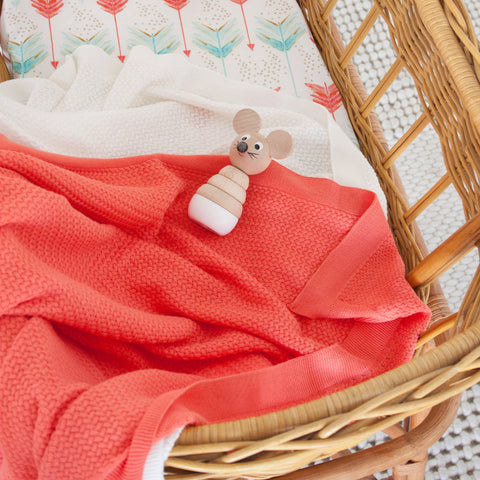 Baby Blankets Boys Girls Mini Arrow Sale in Peach Ivory and Grey