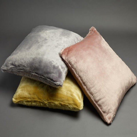 European Faux Fur Pillow Case in Silver Grey, Blush Pink or Chartreuse