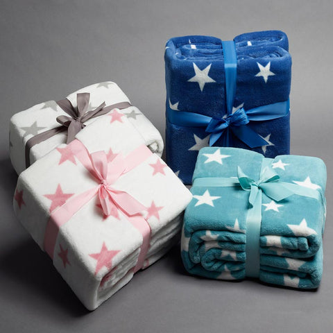 Stars Fleece Throw Rug Super Soft Snuggle Blankets Four Colours