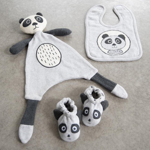 3 Piece Bert Panda Bear Baby Toy Soother Bib and Booty Set