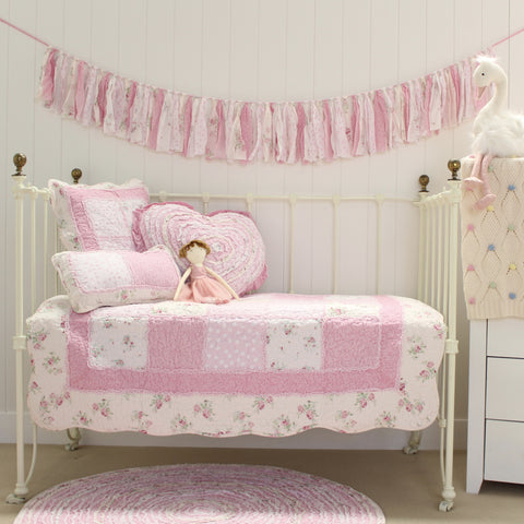 Mia Quilted Shabby Chic Floral Cot Quilt