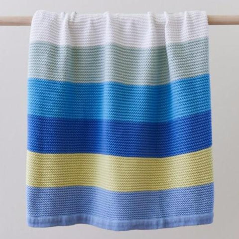 Funky Stripe 100 % Cotton Knit Baby Blanket Sale in Blue