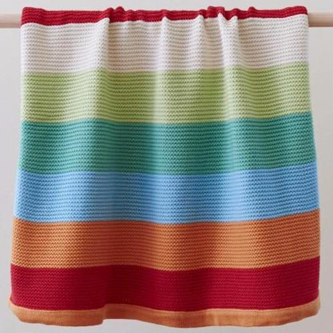 Funky Stripe Baby Boys Girls 100% Cotton Soft Knit Blanket Sale