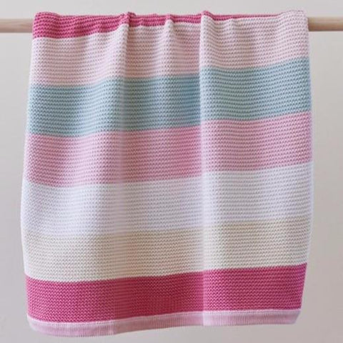 Funky Stripe Pink Pastel Soft Cotton Knit Striped Baby Blanket