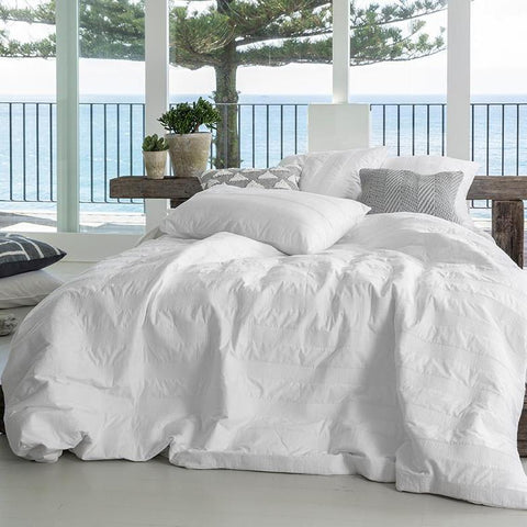 KAS Ivy White Embroidered Quilt Cover Set