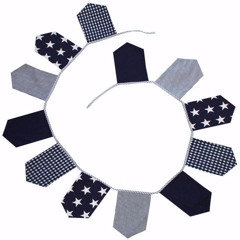 Lachlan Cotton Bunting Flags in Navy Nursery Decor