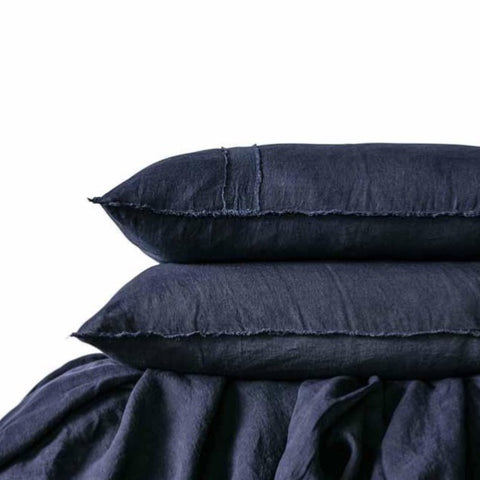 Eadie Lifestyle Navy Blue Linen Queen Size Quilt Cover & Pillow Cases Set