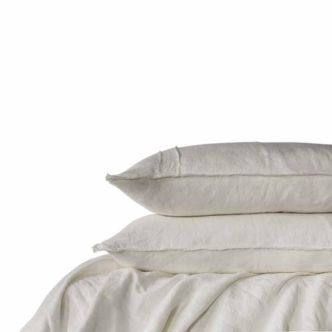 Antique White Linen King Size Quilt Cover & Pillow Cases Set