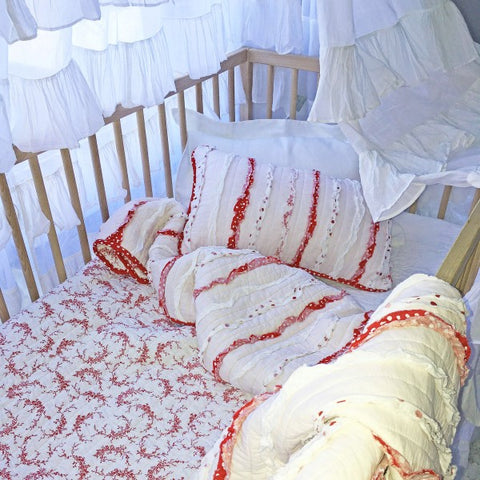 Laila Shabby Chic Ruffle Cot Quilt and Decorator Cushion Set