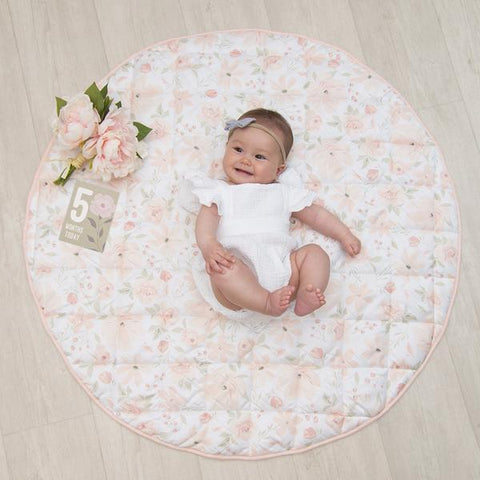 Meadow Floral Round Baby Play Mat with Milestone Cards