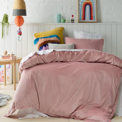 Pink Velvet Quilt Cover Set Single or Double