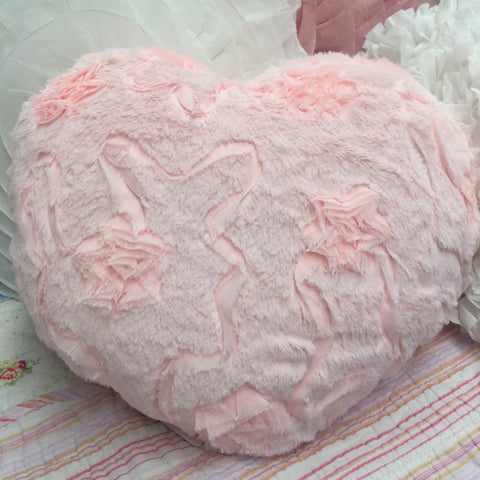 Pink Ribbon Heart Cushion